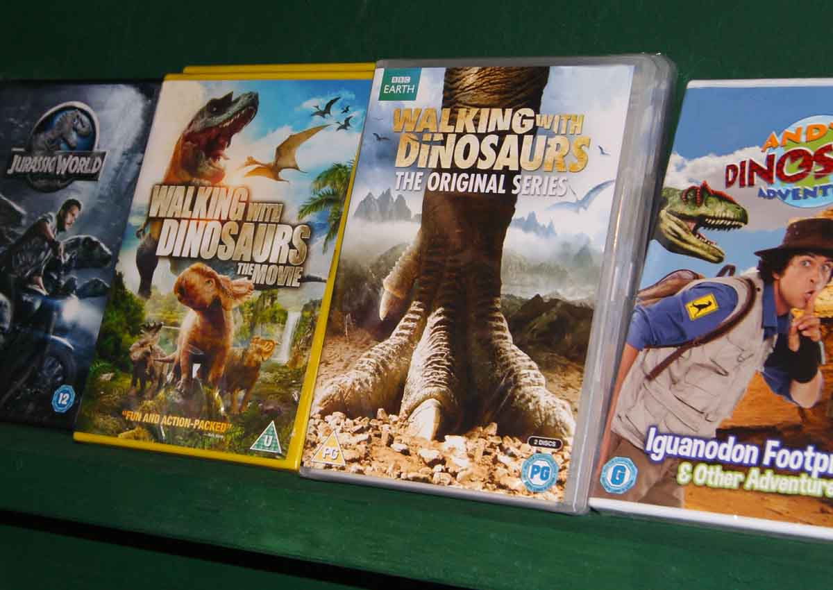Pick up a souvenir dinosaur DVD!